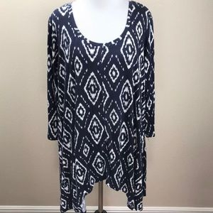 Philosophy Tunic 0X 1X Navy Blue White Boho